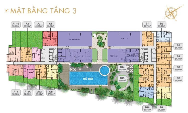 Mặt bằng căn hộ sân vườn tầng 3Mặt bằng căn hộ sân vườn tầng 3