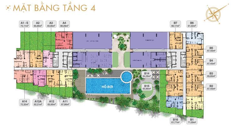 Mặt bằng căn hộ sân vườn tầng 4